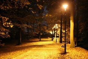 Osvětlená cesta zámeckým parkem
