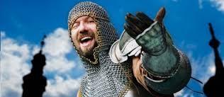 Rytířský turnaj na koních ve středověké aréně